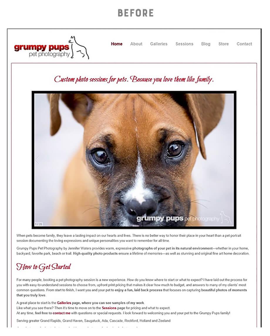 Grumpy pups brand before