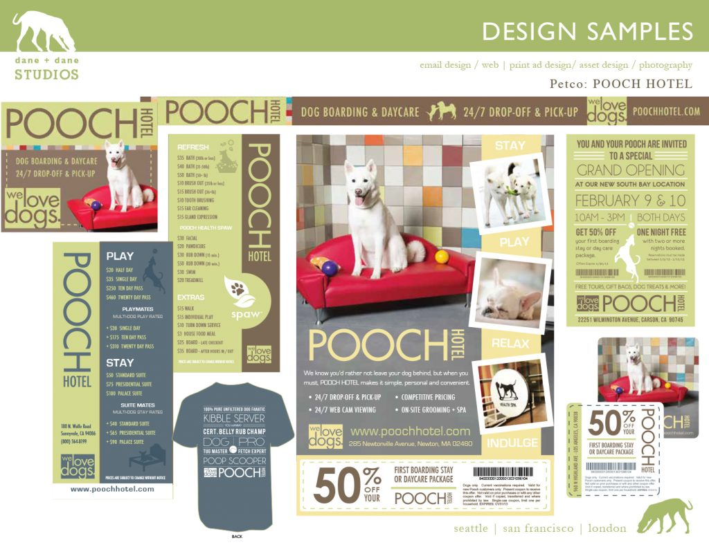 designs for petco's pooch hotel launch by j.nichole smith